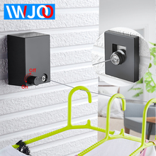 IWJOO Indoor Outdoor Wall Hanging Clothesline Black Stainless Steel Invisible Retractable Wire Rope Square 5 Colors