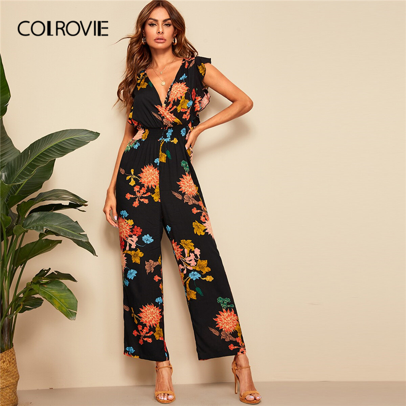 COLROVIE V Neck Surplice Wrap Ruffle Trim Botanical Print Boho   Jumpsuit   Women 2019 Summer Holiday Shirred Sexy   Jumpsuits