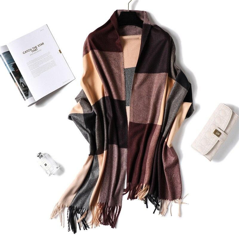 Soft Cashmere Winter Scarf For Ladies Wool Tassel Plaid Scarves Women Long Shawls Wraps Lattice Stoles Autumn Warm Scarfs