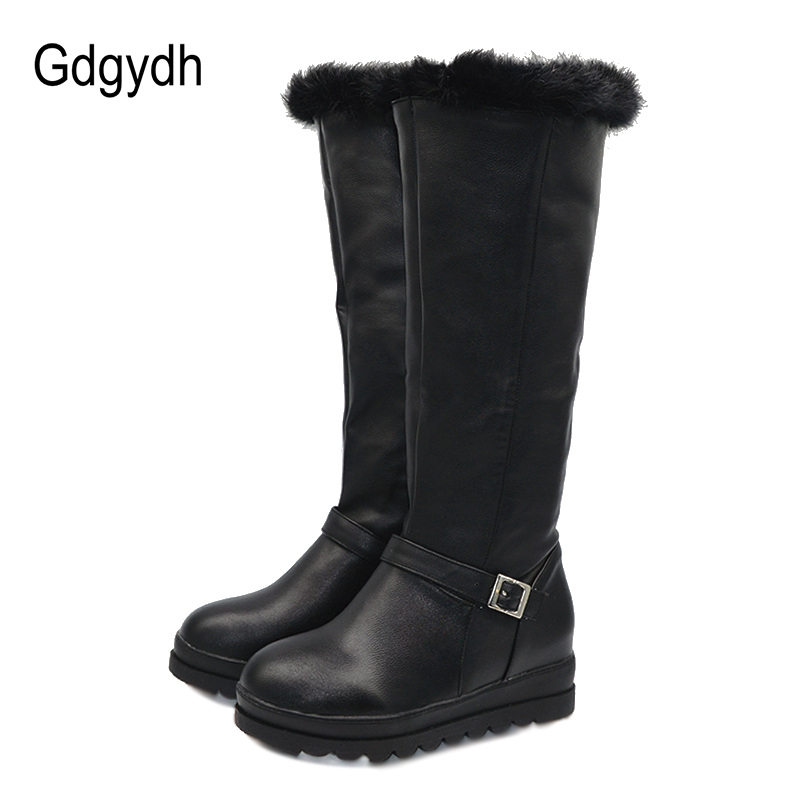 c8bdfef2c5f Gdgydh Real Fur Winter Shoes Warm Women Snow Boots Knee High Black Wedges  Fashion Buckle Ladies Boots With Zipper Plus Size 43