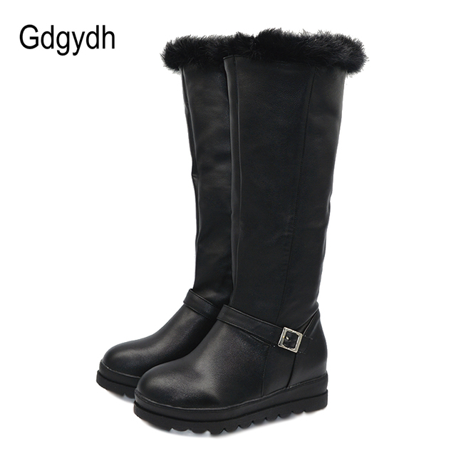 Gdgydh Vera Pelliccia Scarpe Inverno Caldo Neve Delle Donne Stivali Alti Al  Ginocchio nero Cunei di 6a807e42424