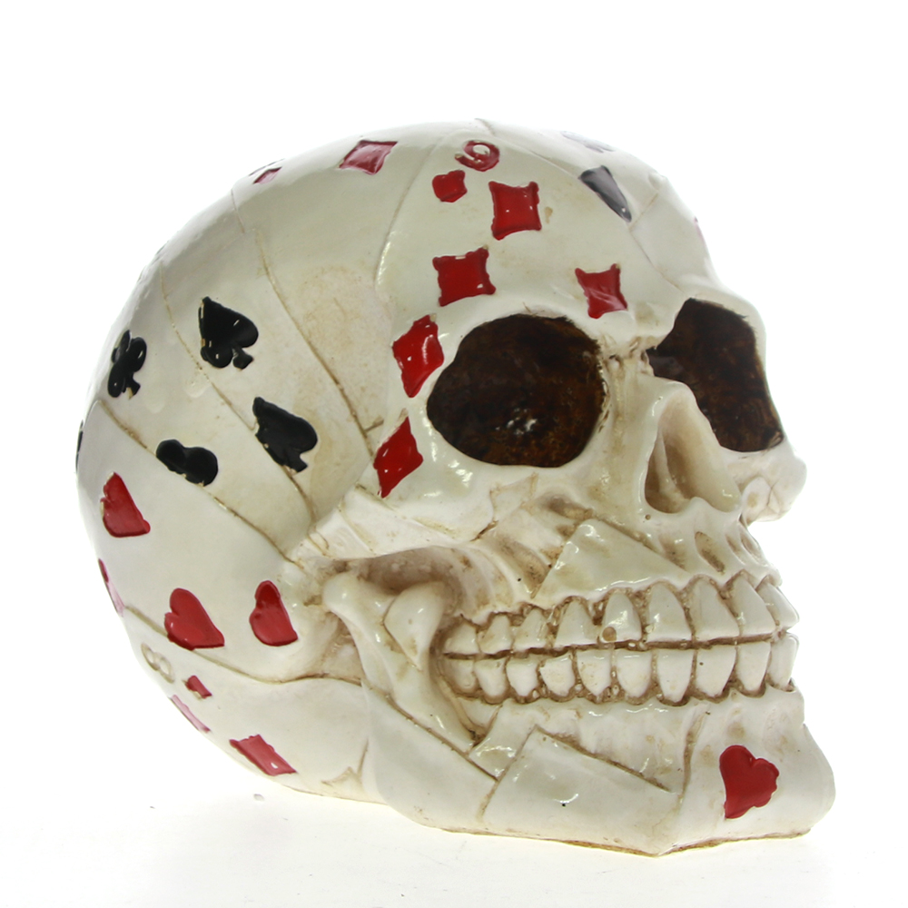 Poker Face Tattoo Skull Gambling Skeleton Ace Cards Halloween Horror Decoration Skull Gambler Playing Cards Figurine Statue