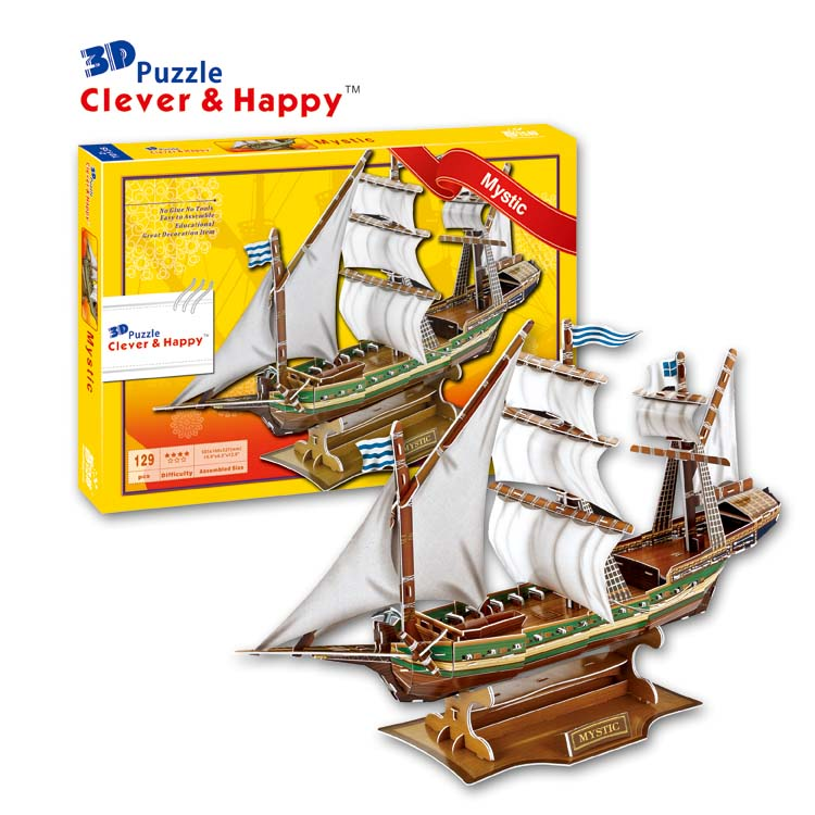 2014 new clever&happy land 3d puzzle model France Mystic adult puzzle diy paper model educational toys paper
