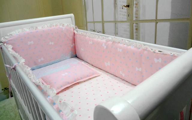 Promotion! 6pcs Pink Baby Cradle Crib Baby Bedding Set for Newborn Baby Products,include (bumper+sheet+pillow cover)