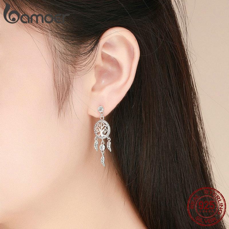 Image 5 - BAMOER Fashion 925 Sterling Silver Tree of Life Dream Catcher Drop Earrings for Women Vintage Sterling Silver Jewelry SCE457Earrings   -