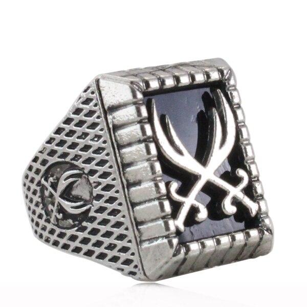 antique silver plating muslim Zulfiqar Sword of Imam Ali ring for men & women , Islam Retro fashion Arab jewelry & gift