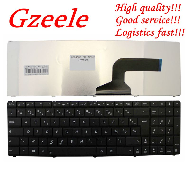 GZEELE French Keyboard FOR ASUS X53 X54H A52J K53 A53 N60 N61 N71 N73S N73J P52 P52F P53S X55V X54HR X54HY N53T AZERTY FR BLACK