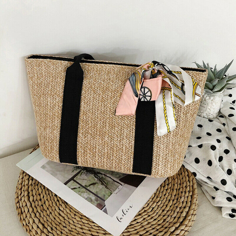 2019 Women Hand-Woven Rattan Bag Lady Straw Purse Wicker Shoulder Beach Bag Ladies Ribbons Women Summer  Hot Straw Handbag Gift