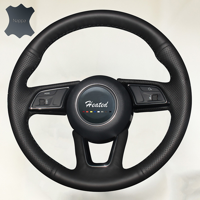 Luxury Hand Sewing Nappa Leather Stitch cover Car Steering Wheel Cover for Audi A4L car styling braid on the steering wheel