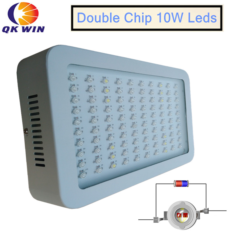 1pcs Qkwin 1000W LED Grow Light Full Spectrum 100x10W with on/off switch 410-730nm For Indoor Plants Flowering And Growing on sale mayerplus 600w double chip led grow light full spectrum for 410 730nm indoor plants and flowering high yield droshipping