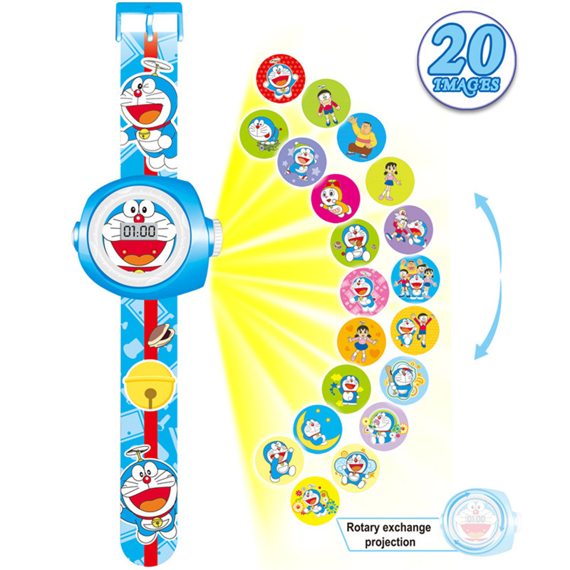 2019 New Stylish 3D Doraemon Cartoon Projection Watch Children Kids Digital Wrist Watches Clock Gift