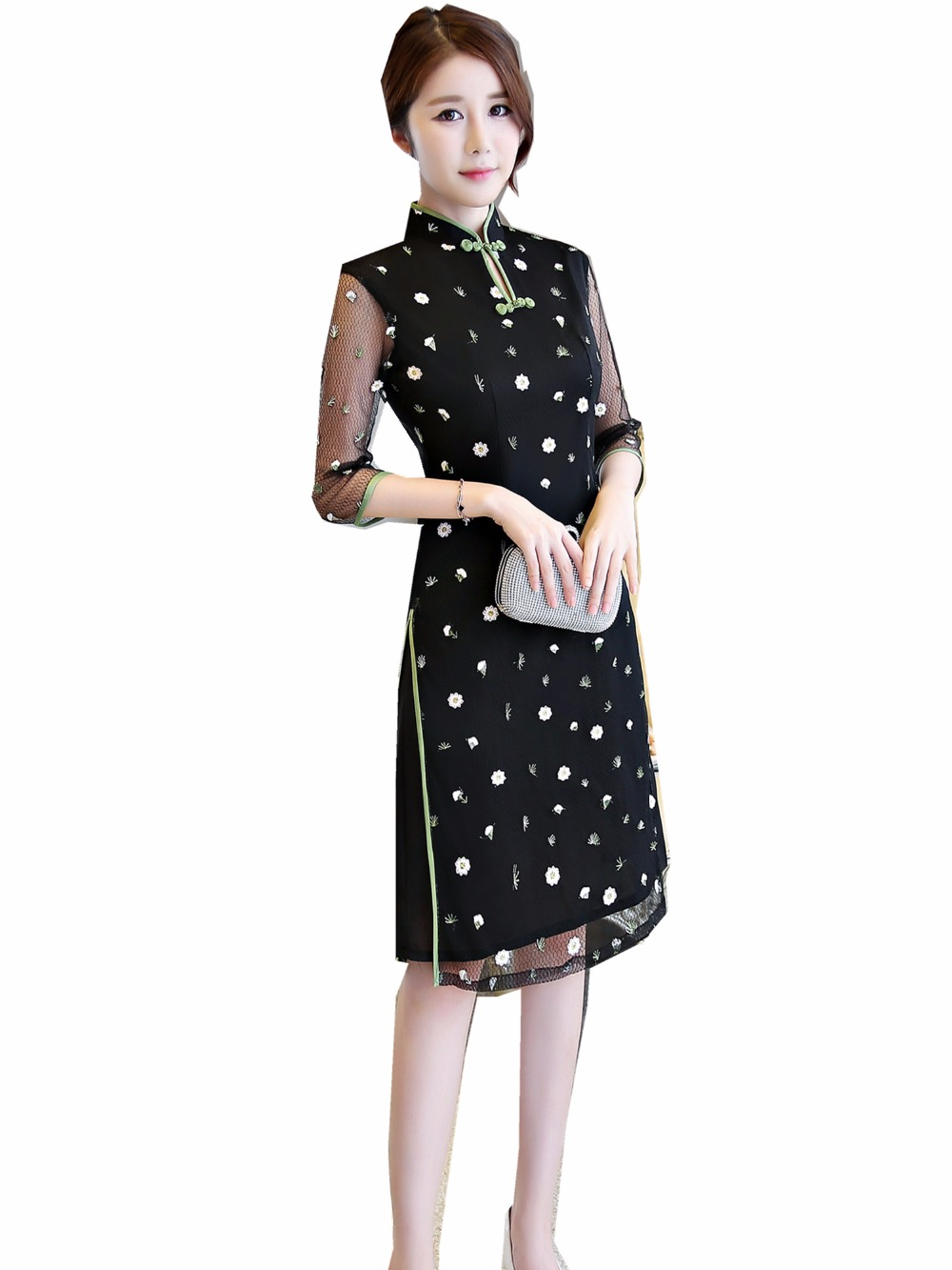 Shanghai Story Chinese Style <font><b>Dress</b></font> <font><b>Vietnam</b></font> aodai Chinese <font><b>traditional</b></font> <font><b>dress</b></font> cheongsam <font><b>dress</b></font> robe chinoise Qipao <font><b>Dress</b></font> 2 Color image
