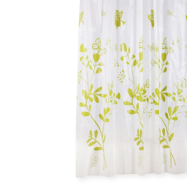 Retro Style Easy To Use Butterfly Pringting Green White PEVA Mildew Shower Curtain Thickening Window