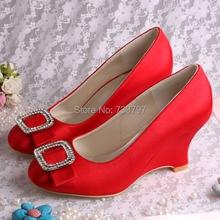 ( 20 цветов ) на заказ женщины свадьбы хрустальные башмачки элегантный красная атласная невеста туфли на высоком каблуке танкетка