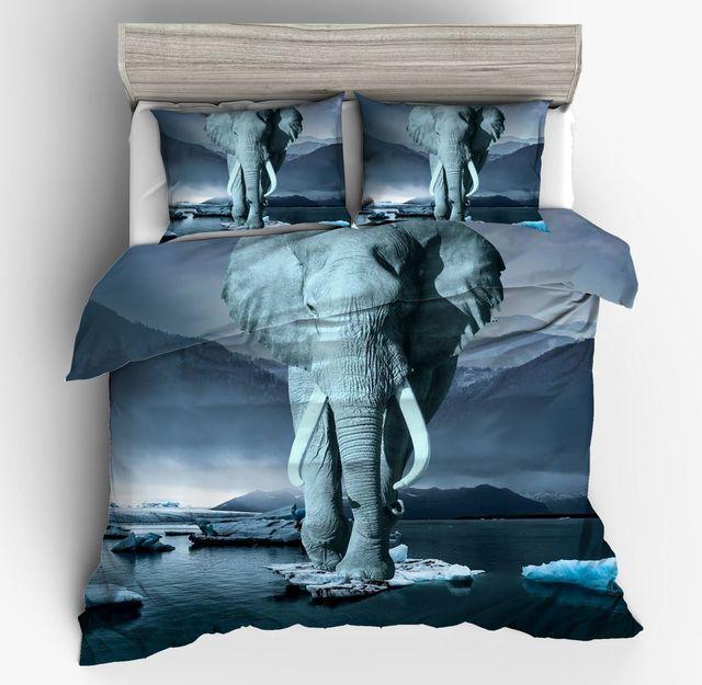 2 3 Pieces Elephant Africain Ensemble De Literie Glacier Nature