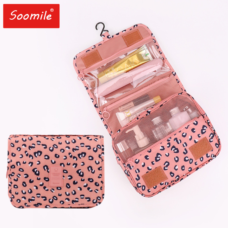 Women Travel Bath Make Up Bag Ladies Waterproof Hanging Cosmetic Bags Female Zipper Necessaire  Toiletry Bag Travel Organizer
