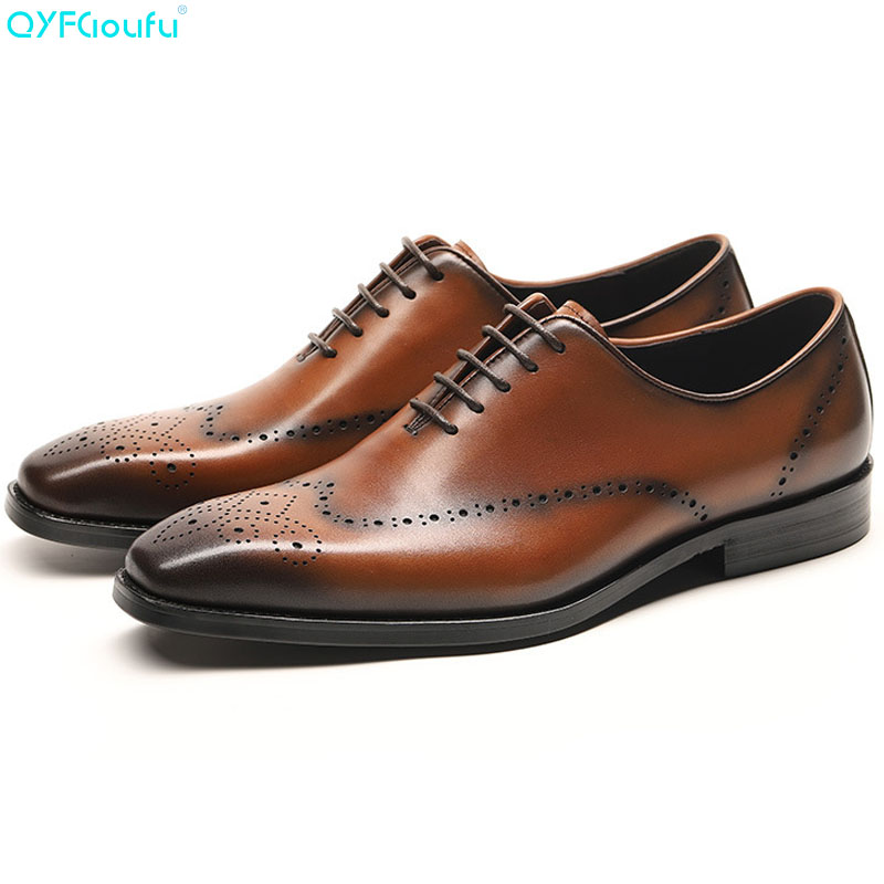 21515596c754af QYFCIOUFU Genuine Cow Leather Italian Formal Shoes Men Designer Dress Shoes  Black Brown Lace-up Fashion Retro Brogue Shoes