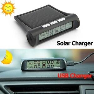 Image 3 - Hippcron Tire Pressure Alarm Sensor Monitor System Internal / External Tpms Car Display Temperature Warning Solar Power Charging