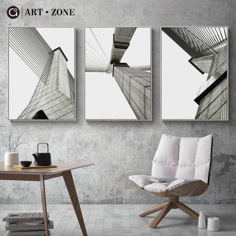 ART ZONE Black And White Landscape Modern Minimalist Wall ...