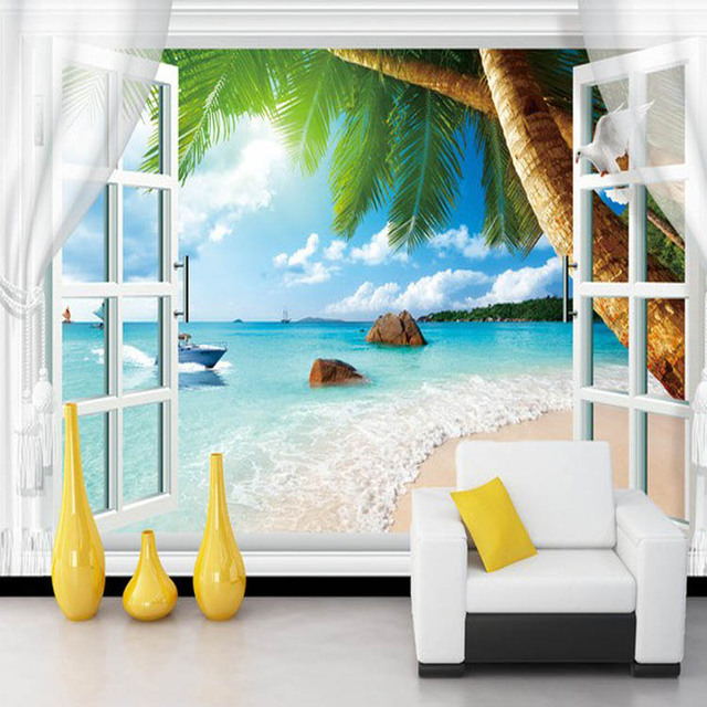 Top Quality Best Selling Blue Sea View Wallpaper Living Room Walls Decor Hd Design Self Adhesive
