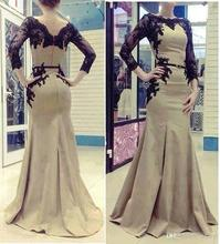 Free Shipping 2014 New Elegant Arabic Kaftan Evening Dresses Women With Long Sleeves Applique Satin Dubai Gowns CH-1027