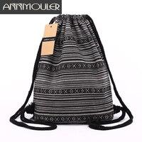 Annmouler Women Backpacks Large Capacity Shoulder Bag Bohemian Style Tribal Drawstring Rucksack 20 Colors Cotton Daypack