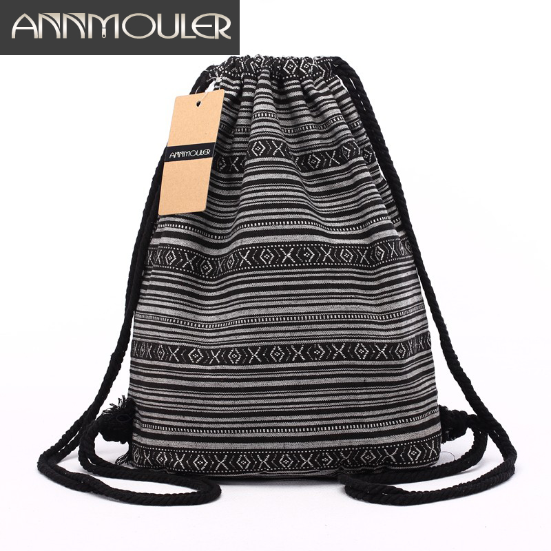 Annmouler Women Backpacks Large Capacity Shoulder Bag Bohemian Style Tribal Drawstring Rucksack 20 Colors Cotton Daypack Hobo