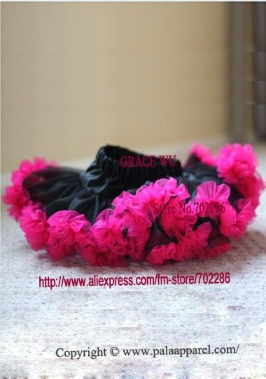 Черный шифон Пышная юбка для малышки детские юбки-американки фатиновая юбка Хэллоуин пачки - Цвет: hot pink ruffled