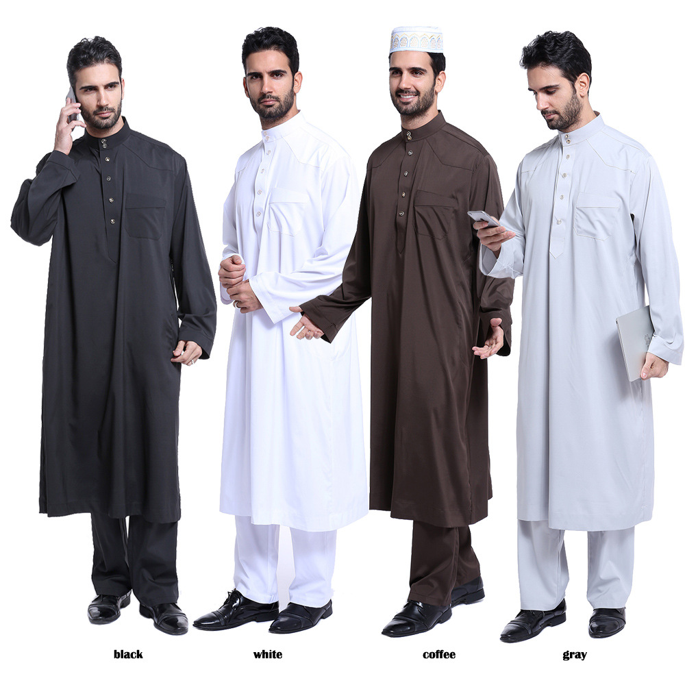 Arabic Jubba Thobe For Man Muslim Men Clothing Saudi 2 Piece Set Thobe Islamic Clothing Men Solid Color UAE Dubai Black Jubba