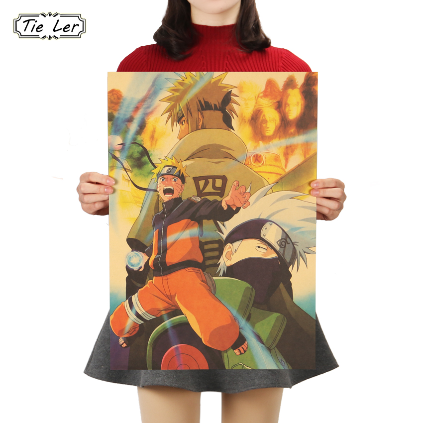 Anime Naruto Vintage Kraft Paper Poster Bar Cafe Decorative Painting 51.5X36cm !