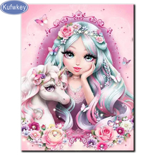 5D DIY diamond Painting full square round drill embroideryGirl and unicornpicture Diamond Mosaic Cross Stitch Home Decor Gifts