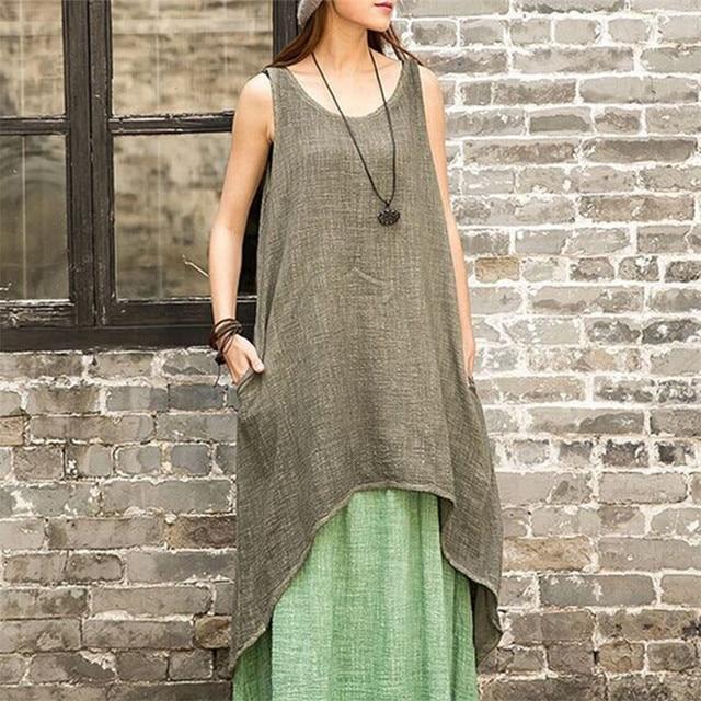 059 49\'\' casual loose Plus Size white linen maxi vest Dress Linen ...