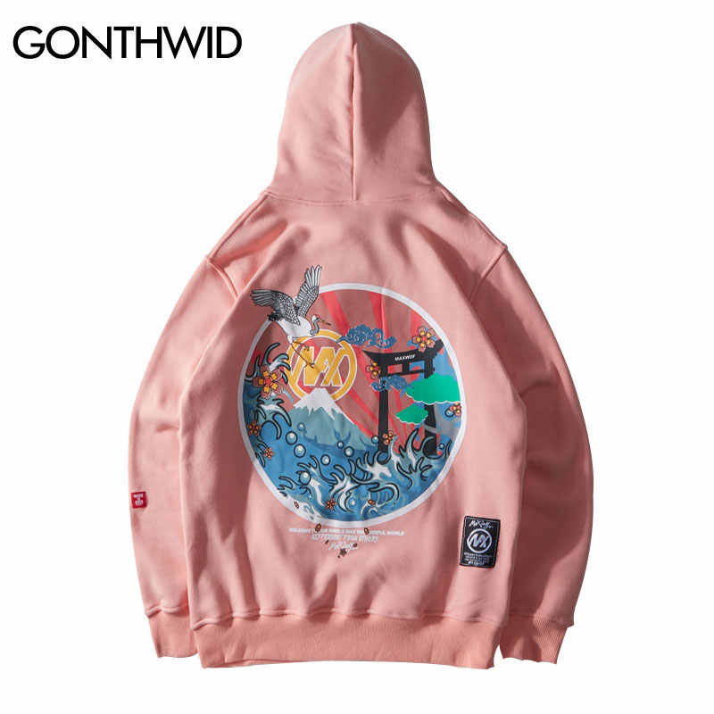 GONTHWID Japanese Embroidered Cranes Fleece Hoodies Streetwear Men Women 2019 Hip Hop Casual Pullover Sweatshirts Pink Naby Blue