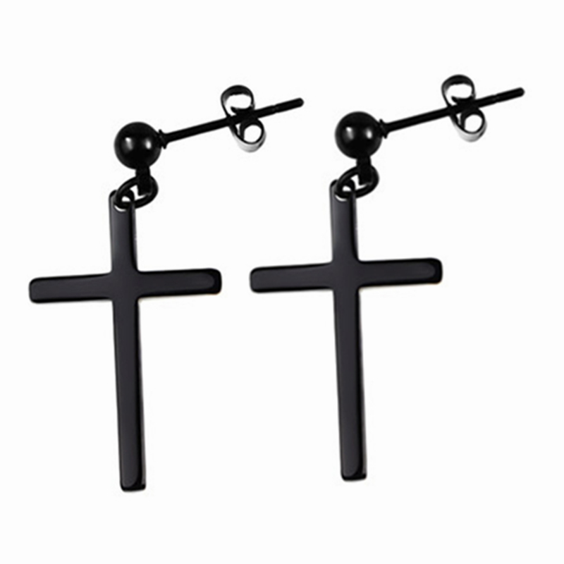 Wholesale Price Stainless Steel Cross Earrings Unisex Stud Earrings Big Cross Pendant Earring For Man Women Piercing Jewelry
