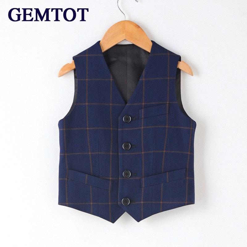 GEMTOT 2017 new boy Western-style clothes plaid vest Formal dress up Stage costu