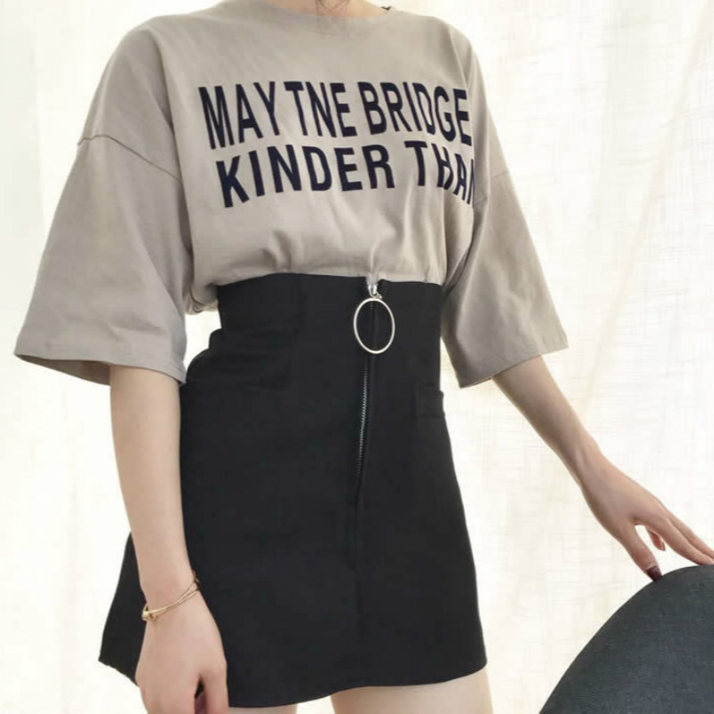 Harajuku Skirts Womens 2018 Korean Summer Style Metal Ring Zipper Skirt Rock Kawaii High Waist Fashion Women Clothing ...