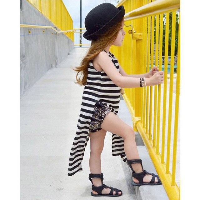 Exceptionnel Enfants Vêtements Filles Rayé Haute Fentes De Mode Tendance Robe  ME68