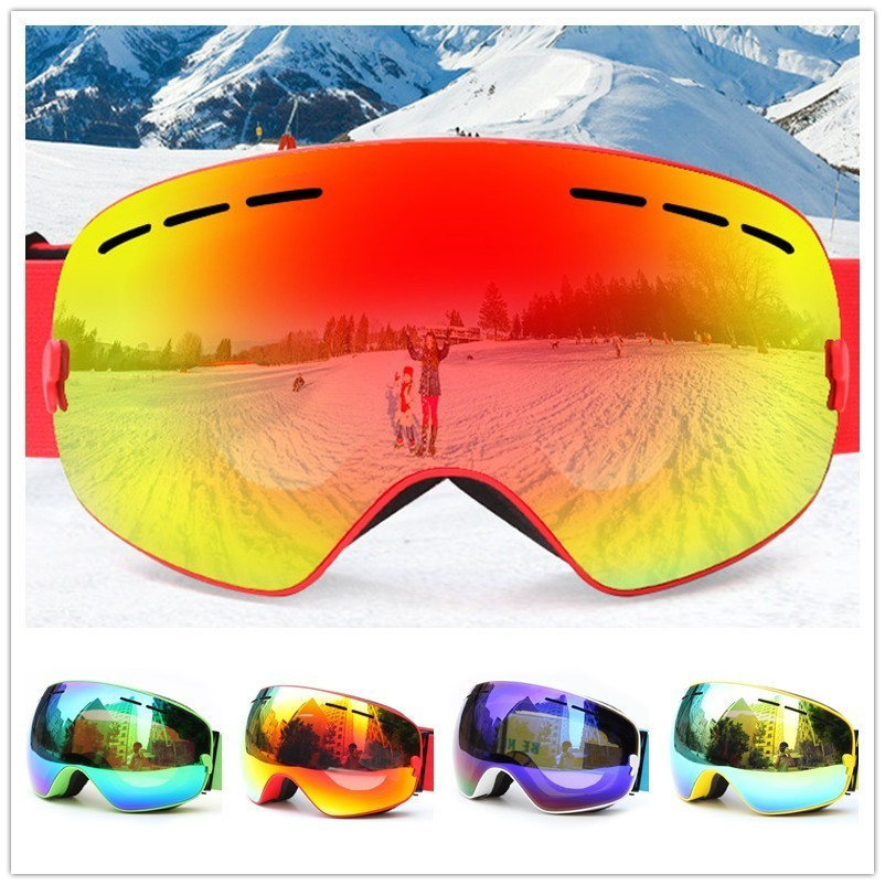 Lunettes de Ski d'hiver Double couche UV400 Anti-buée grand miroir sphérique masque de Ski lunettes hommes femmes neige Snowboard lunettes + boîte