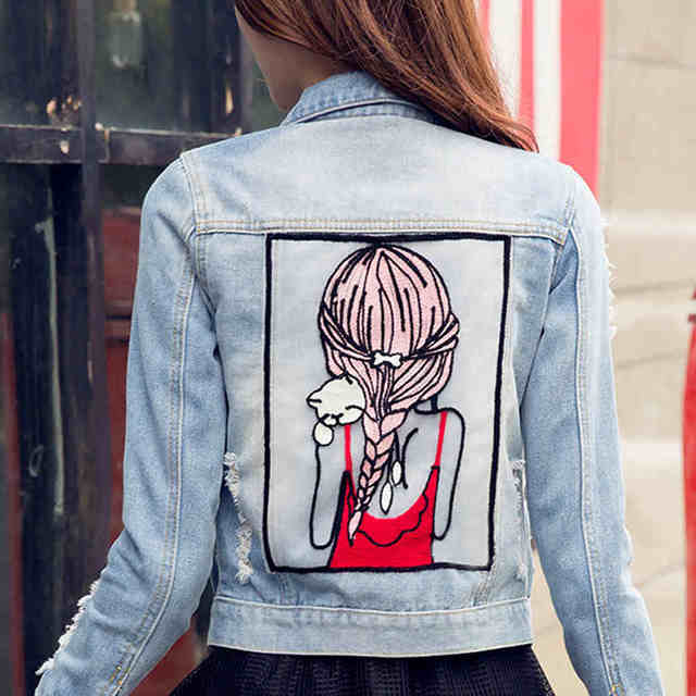 2016 New Spring Denim Jacket For Women With Girl Pattern Slim Light Blue Jacket Womens chaquetas mujer