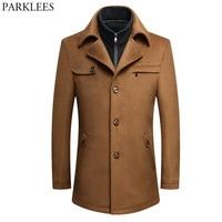 Mens Trench Coat 2017 Winter Long Wool Trench Coat Men Slim Fit Pea Coat Windbreaker Casual Men's Jackets Coats Abrigo Hombre