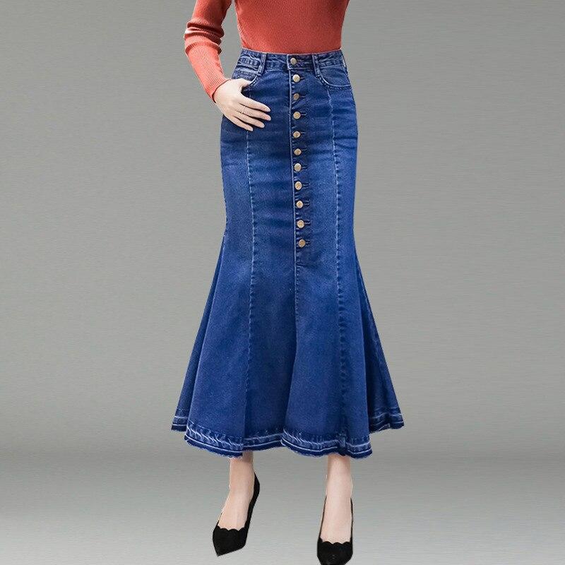 Summer 2019 Denim Skirt Women Mermaid Trumpet Long Skirt Mid-calf Buttons Empire High Waist Jeans No Stretch B91691