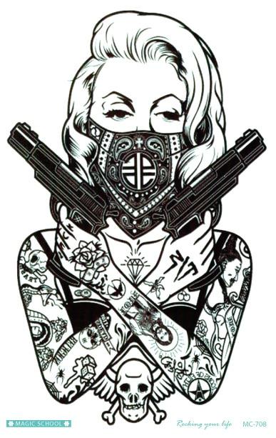 Big Mask Women Gun Tattoo Waterproof Long Lasting Temporary Tattoo ...