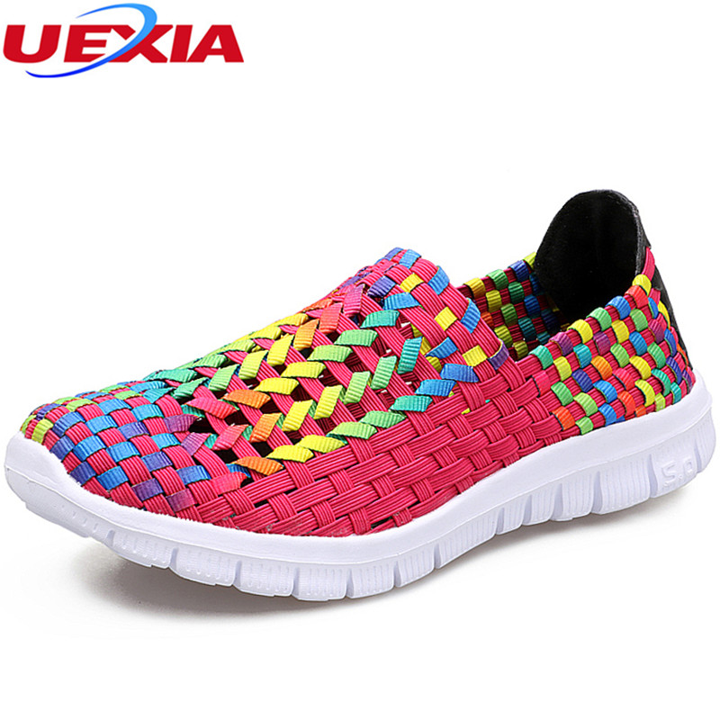 UEXIA New Sneakers Women Woven Shoes Summer Breathable Handmade Flats Fashion Comfortable Casual Shoes Chaussure Femme footwear tesilixiezi new spring summer fashion candy color bling flats platform shoes wegde breathable women casual shoes footwear