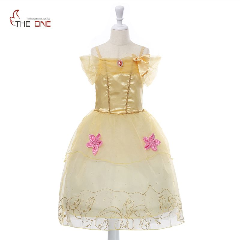 545a201e512 MUABABY Girls Summer Dress Belle Princess Cosplay Costume Off ...