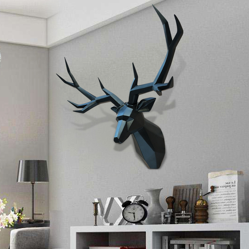 Super Big Home Decor Accessories 3D Deer Statue Animal Figurine Wall Decoration Sculpture 70x50cm Ornament Wedding Decorations