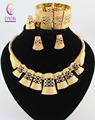 Vintage Women Gold Plated African Costume Crystal Necklace Bangle Earrings Ring Set Hollow Patterns Beads Jewelry Sets
