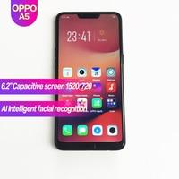 OPPO A5 оригинальный Android смартфон 6,2 дюйма, разрешение Full Экран глобальная прошивка 4230 мА/ч, 1520x720 с функцией распознавания лиц 1080 P 13MP + 2MP