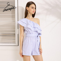 Gracegirl 2017 Summer Women Playsuits Series Spring New Off Shoulder Ruffles Striped Print Sexy Romper Jumpsuit