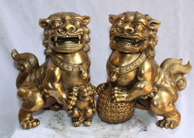 8 China Bronze Fengshui Guardian Foo Fu Dog Hold Ball Kid Door Lion Pair Statue