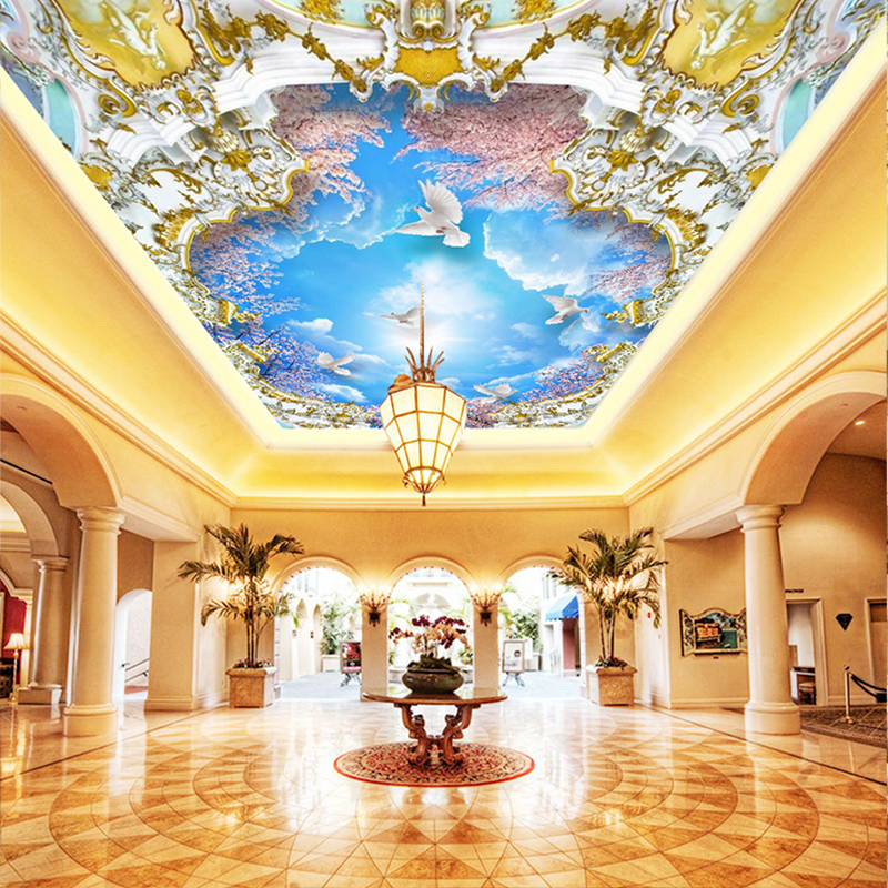3D Photo Wall Murals Blue Sky White Clouds Cherry Tree 3D Zenith Murals for Living Room Hotel Meeting Room Ceiling wallpapers 3d ceiling murals wallpaper aurora zenith living room ceiling mural custom photo murals wallpaper 3d ceiling